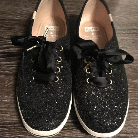 Kate Spade Black Glitter Keds